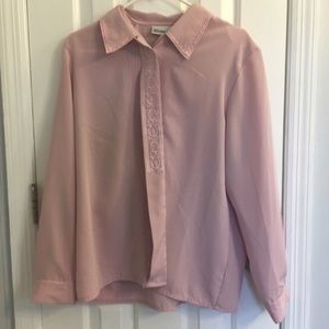 Claudia Richard blush pink lace embroidered blouse